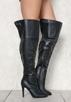 Black Leatherette Pointed Toe Over The Knee Boots