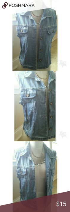 "Vintage Sleeveless Jean Jacket Jacket has a light yellow residue inside collar due to be previously worn. 100% cotton. Size medium. 19"" length. 38"" bust. Questions are welcomed. Talbots Jackets & Coats Jean Jackets"