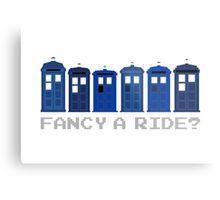 'Fancy a ride?' Metal Print by nath-gary Geek Decor, Tardis, Doctor Who, V Neck T Shirt, Chiffon Tops, Classic T Shirts, Nerd, Geek Stuff, Canvas Prints