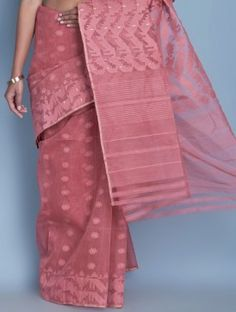 Dark Pink Cotton Zari Dhakai Jamdani Saree