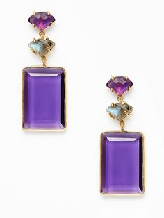 Kanupriya  Amethyst & Labradorite Rectangular Earrings