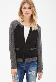 Raglan Cable Knit Cardigan   Forever 21 - 2000101422
