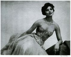 1950s Chanel Dresses | ... -- cocochanel chanel 1950s fashion gown strapless life embroidered