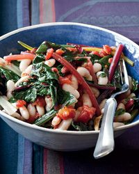 "Quick White Bean Stew with Swiss Chard and Tomatoes | Low in fat but high in protein, beans are one of Joe Bastianich's favorite ingredients. He uses white beans here, but he also loves making this recipe with chickpeas and flat gigante beans: ""The bigger and creamier the beans, the better."""
