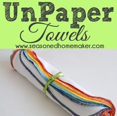 Never buy another paper towel. Reusable UnPaper Towels are easy to make and can be used over and over. Reusable, Economical: Saving money and the planet.