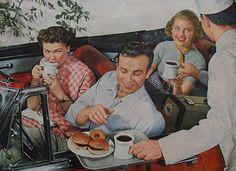 Carhop serving refreshments .......1950's