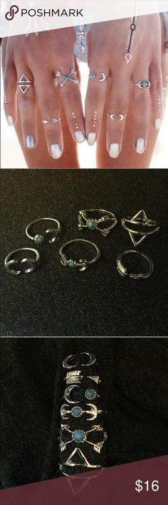 ❤️✨sale ✨❤️Set of 6 boho rings Super stylish NWOT set of 6 boho rings. Vintage silver tone & turquoise, Different size. 5 sets available. Thank you for stopping by! Will consider reasonable offers & bundle discounts ;) No trade or hold. Jewelry Rings