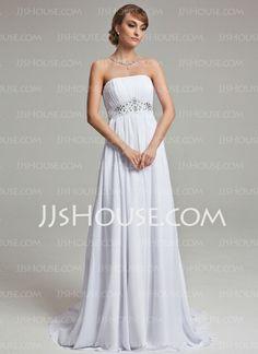 Wedding Dresses - $142.99 - Empire Strapless Court Train Chiffon Wedding Dress With Ruffle Beadwork (002001171) http://jjshouse.com/Empire-Strapless-Court-Train-Chiffon-Wedding-Dress-With-Ruffle-Beadwork-002001171-g1171