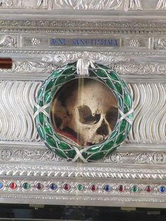 The purported skull of Saint Agnes, as displayed in the Sant'Agnese in Agone church in Rome