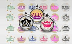CROWN 1 Inch Pendant Necklace Magnets Stickers Bottle