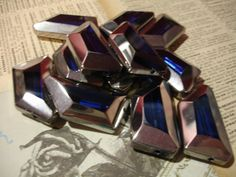 6 Ultramarine Blue Silver-Edge Trapezoid Glass Beads. Starting at $4 on Tophatter.com!  http://tophatter.com/auctions/16982?campaign=buyer_auction_reminder=email