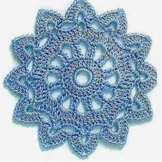 crochet motif or doily, 5 rounds, see graph sunburst small doily Motif Mandala Crochet, Crochet Square Patterns, Crochet Motifs, Doily Patterns, Crochet Chart, Crochet Squares, Thread Crochet, Crochet Designs, Crochet Dollies