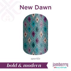Sparkles and diamonds - what's not to love? Get ready to shine bright with 'New Dawn'. #NewDawnJN #teal #green #blue #purple #pink #sparkle #glitter #nailwraps #spring #boldandmodern #jamberry #berrygirlnails