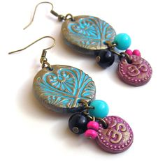 Om aum medallion earrings, polymer clay, pink, copper, blue, turquoise, Indian, vibrant color, bohemian, boho