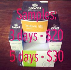 LeVel Thrive Samples- LIMITED QUANTITY  #levelthrivesamples Email me: wahmwealth@gmail.com Facebook me: https://www.facebook.com/profile.php?id=100008332329998  Sign up for FREE on the website:CLICK THE PIC: http://lifeisthriving.le-vel.com
