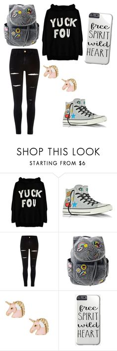 """The girl who doesn't care"" by valerieg0911 ❤ liked on Polyvore featuring Converse and River Island"