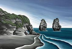 Taranaki Cliffs by Diana Adams. Artprints available thru www.imagevault.co.nz and stockists nation-wide.