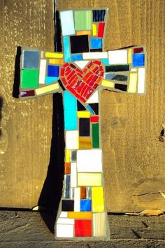 Medium Mosaic multicolored Cross with heart in by DeniseMosaics, $30.00