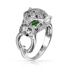 Bling Jewelry Simulated Emerald CZ Eye Panther Ring Rhodium Plated *** You can get more details by clicking on the image. (This is an affiliate link) Emerald Band Ring, Green Emerald Ring, Emerald Color, Emerald Jewelry, Diamond Rings, Womens Jewelry Rings, Bling Jewelry, Stylish Jewelry, Fashion Jewelry