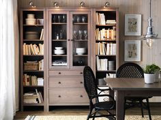 HEMNES grey-brown bookcases and glass-door cabinet with drawers