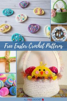 Free Easter crochet patterns are just what the bunny ordered. When you start to see pastel colors, bunnies and chocolate-covered Easter eggs you know Easter is on its way. It will be here soon, start crocheting with these patterns! All Free Crochet, Knit Or Crochet, Hand Crochet, Crochet Hooks, Crochet Afghans, Holiday Crochet Patterns, Crochet Patterns For Beginners, Knitting Patterns, Crochet Ideas