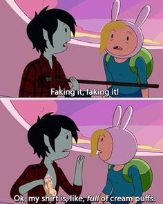 Fionna and Marshal Lee. This is so funny! She just starts punching him in the face after this.