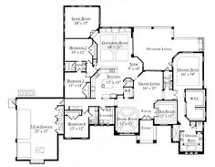 First Floor Plan of Florida   Mediterranean   House Plan 64675