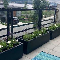 Rooftop Terrace Design, Balcony Railing Design, Rooftop Patio, Backyard Patio, Backyard Landscaping, Cabana, Garden Beds, Outdoor Living, Steel Planter