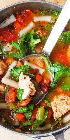 Chicken Vegetable Soup with Pasta: gluten free, healthy, delicious, easy-to-make! Filled with vegetables: spinach, green bell pepper, carrots, tomatoes, and beans. Great dinner and a perfect lunch!