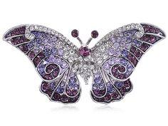 Empress Monarch Butterfly Swarovski Rhinestones - Purple - CI116N9W21J - Brooches & Pins  #jewellrix #Brooches #Pins #jewelry #fashionstyle