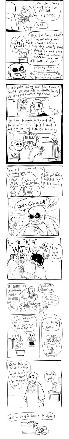 Flowey living with the crew. Artist unknown