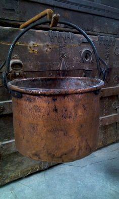 Kitchen Witchery:  Antique Copper #Cauldron, Antique Big Copper Pot of XIX century, for the #Kitchen #Witch.