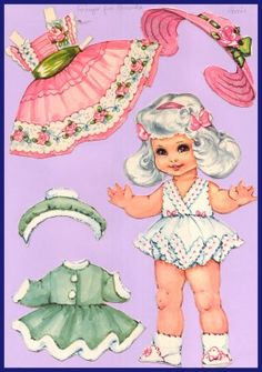 Ingrid Molzen. PDsamler. Online Interest Group on paper dolls Ginger from America. Series of 8 different countries