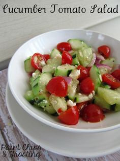 Cucumber Tomato Salad; a spin on the original, this one adds Feta, and also some Italian dressing for an extra flavor boost