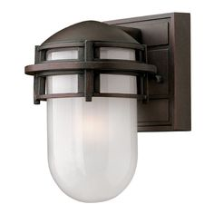 Hinkley Lighting Outdoor Wall Light with White Glass in Victorian Bronze Finish | 1956VZ-GU24 | Destination Lighting / Seattle Lighting (cast aluminum) $103