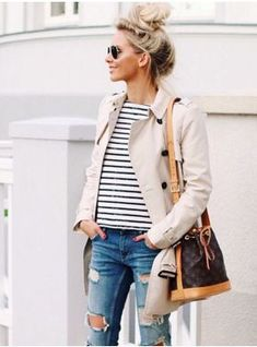Love the stripes, distressed jeans, trench