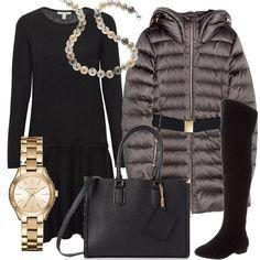 Un orologio griffato Michael Kors, con cassa in acciaio e cinturino color oro, abbinato ad un outfit composto da abito, semplice, nero, arricchito dalla collana di perle e coperto dal giubbino imbottito, grigio. Abbiniamo cuissardes e borsa neri.