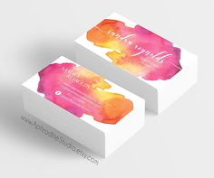 Watercolor business cards  Makeup artist business cards