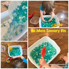 No Mess Sensory Play. A no mess sensory bin is a great way for toddlers to have fun and learn! No mess sensory play is a great way to have stress free fun for you and your toddler. See how we can explore without making a mess. Toddler Sensory Bins, Baby Sensory Play, Sensory Tubs, Sensory Activities Toddlers, Montessori Activities, Toddler Fun, Infant Activities, Sensory Diet, Games For Toddlers