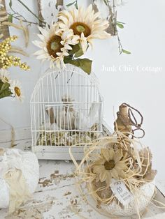 Junk Chic Cottage: Trying to Get My Fall Mojo On Junk Chic Cottage, Bird Cages, I Fall, Autumn, Happy Sunday, Bird Houses, Fall Decor, Table Decorations, Halloween