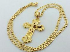 Collana Ciondolo Croce Oro Unisex Crocifisso con cristo Gioielli Di Vicky