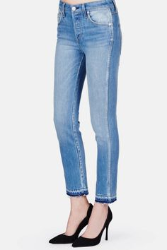 AMO - One of our new favorite premium denim brands, AMO specializes in modern, flattering takes on vintage-inspired silhouettes. Their Babe style features acropped length and unrolled hem, two of the moston-trend nuancesfor jeans this spring.Style we love:AMO Babe in '70s Blue, $253