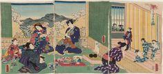 Mitsuuji Amusing Himself at an Onsen by Kunisada