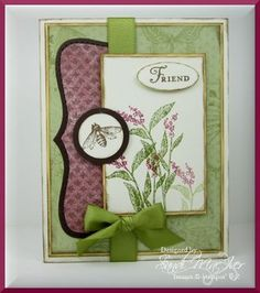 Nature Walk - friend card - Using the beautiful Nature Walk Stamp Set and the beautiful, matching BOTONAICAL GAZETTE Designer Paper, - The green background paper is one of the dotted DP (came in a color's DP) and then a butterfly stamped in the same color over it.  What a neat idea.  The pink paper came from the Botanical Gazette Designer Paper (2011)