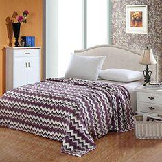 Ben&Jonah Designer Plush Twin CamessaMicro Fleece Jacquard Blanket -Purple Zig-Zag