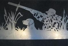 "Beautiful silhouette of hunter and his dog 47"" x 25"" Other sizes available upon request"