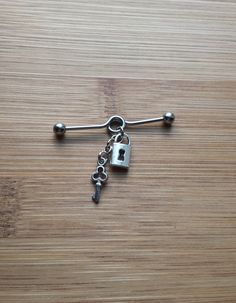 Lock & Key  Industrial Barbell Piercing 14G by SubtleDistinctions, $11.00