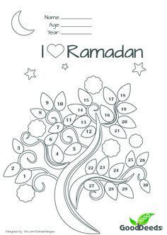 Ramadan fasting chart or countdown calender for children kids