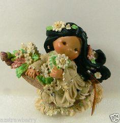 Friends of Feather Enesco 1997 Indian Girl Basket Flowers Figurine Beauty Maiden | eBay