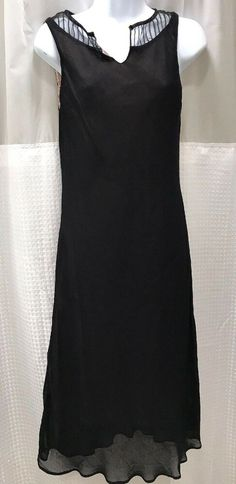 2de0ef7c47 Vintage Tessuto Chiffon Sheer Black Dress Beige Lining Sleeveless V Neck  Medium  Tessuto  MidiSheerBlackOverlay100RayonLining
